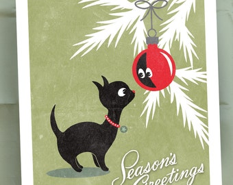 Christmas Kitty Cat Holiday Cards / Cat Lover Cards / Black Cat Reflection in Red Ornament / Christmas Card Set / 25 Cards and Envelopes