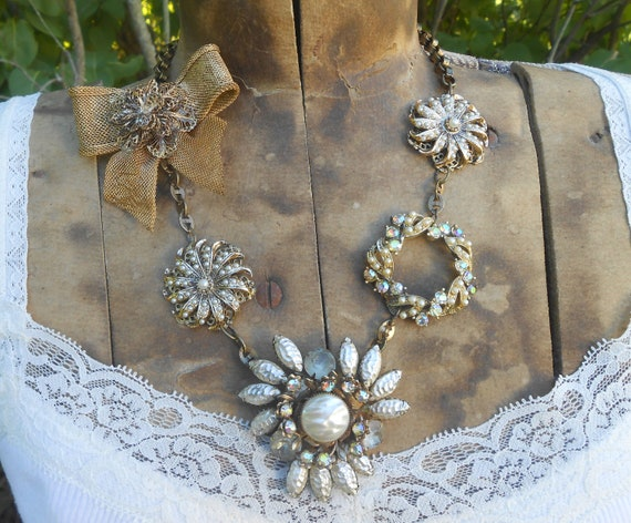 Vintage Brooch Fall Statement Necklace Eclectic Repurposed Assemblage Rhinestone Pearl Bow