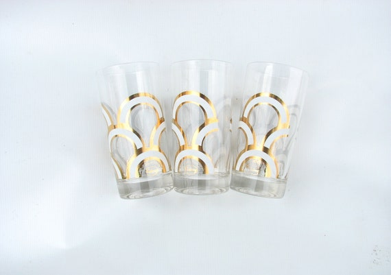 VTG 60s Retro Gold and White Drinking glasses by Colony  Free Shipping to US