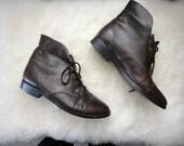 vintage Prima Royale brown leather granny booties