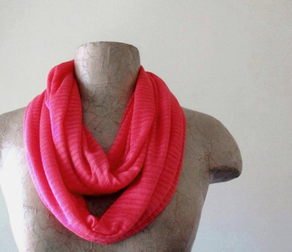 Lightweight Infinity Scarf - Hot Pink Knit Infinity Scarf - Circle Scarf, Loop Scarf, Eternity Scarf