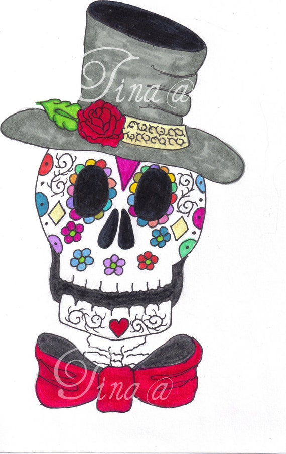 Skulls With Top Hats Hand Drawn Top Hat Sugar Skull