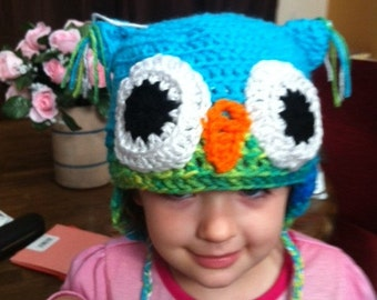 Crochet Owl Hat --  infant to adult size