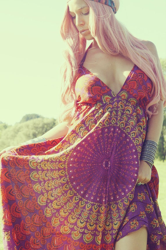 Handmade Purple Peacock, Hippie Dress, Long Maxi Dress, Bohemian, Tapestry Sundress, Scarf Dress, Chakra Dress, Festival Dress, Sunburst
