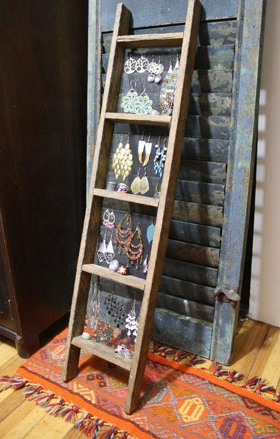 Handmade Ladder Jewelry Display Primitive Unique Jewelry