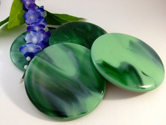 Fused Glass Coasters in a Shimmery Green Fall Autumn Color 487
