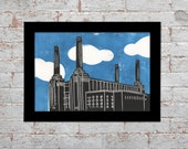 London Battersea Power Station lino print