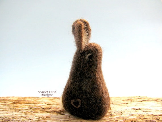 Needle Felted Little Brown Hare, Needle Felted Animal, Felted Bunny, Brown Bunny