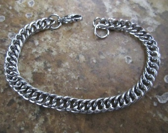 """8"""" 5mm Wide Stainless Steel Double Curb Chain Charm Bracelets w/ Lobster Clasps - AWESOME Silver Alternative - CCB08-64LC"""