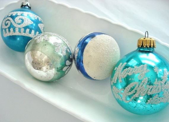 RESERVED for B -Vintage Glass Christmas Ornaments in Shabby Shades of Silver and Aqua Blue - Instant Collection of 25