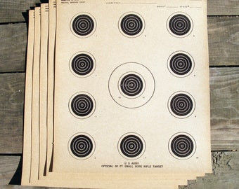 "5 Vintage U.S. Army Targets  10"" x 12"" Rifle Shooting Gun Heavy Paper"