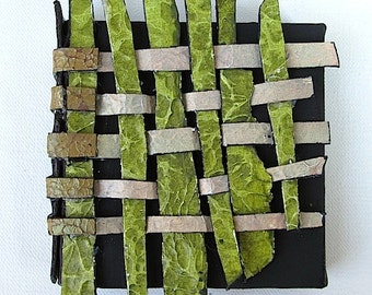 fence weave, patched - sculptural painting