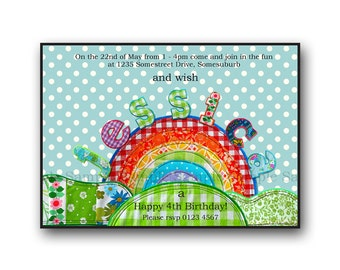 Printable Patchwork Rainbow Party Birthday Invitation - Print it yourself - Digital Invitation