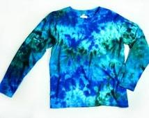 Ladies Long Sleeve Tie Dye Shirt, Womens T Shirt, Marble Ocean Colors Design, Eco-friendly Dyeing