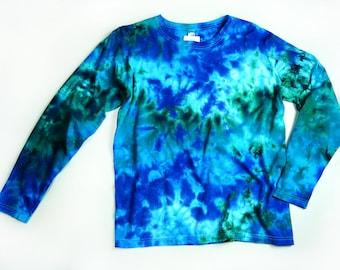 Ladies Long Sleeve Tie Dye, Womens T Shirt, Marble Ocean Colors Design, Eco-friendly Dyeing