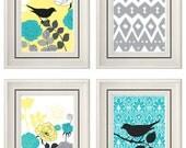 Set of Four Modern Vintage Turquoise/Yellow Wall Art - Print Set - Home Decor - 8x11 Prints (Unframed)