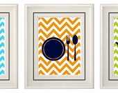 Set of Three Modern Kitchen Wall Art - 8x11 Print Set (Unframed)