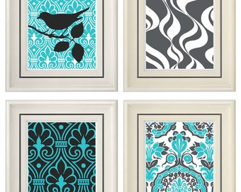 Set of Four Modern Vintage Turquoise/Gray Wall Art - Print Set - Home Decor - 8x11 Prints (Unframed)