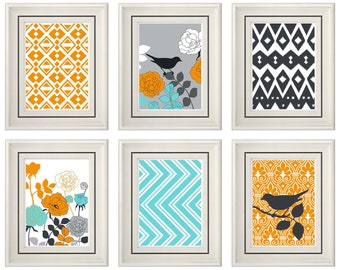 Set of Six Modern/Vintage Orange/Turquoise Wall Art - 8x11 Print Set - Home Decor - For Home (Unframed)