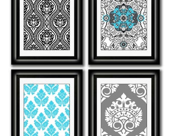 Set of Four Modern Vintage Turquoise/Black Wall Art - Print Set - Home Decor - 8x11 Prints (Unframed)