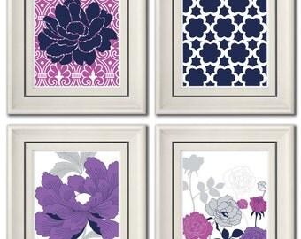 Set of Four Modern Purple/Dark Blue Wall Art - Print Set - Home Decor - 8x11 Print (Unframed)