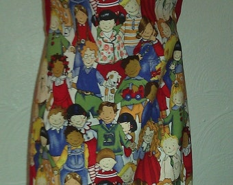 Children's apron with red trim and ties