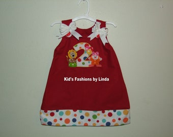 Red Aline Dress with Applique Number , Lion  Applique and Clown Girl Applique