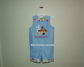 Personalized Applique Number/Circus Lt Blue Big Top Tent Jon Jon -Personalization Included