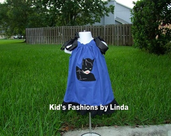 Royal Blue Black Ruffle  Pillowcase Dress with Catwoman applique
