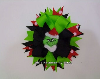 Green/Black/Red Dot Hairbow with Grinch Center