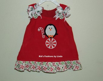 Red Corduroy /Peppermint Ruffle Penguin Aline Dress