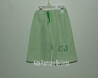 Lime Green Seersucker Boy's Bathing Suit