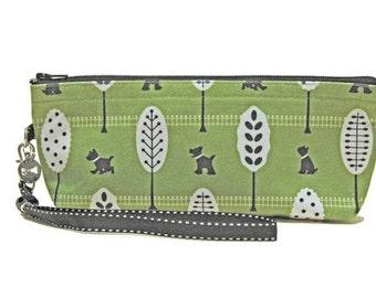"Cute ""Top Dog"" Handmade Zipper Pouch, Green, Black and White."