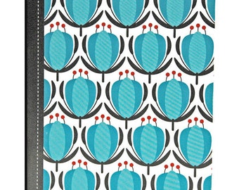 Pretty Pocket Notebook, Floral, Black, Turquoise, Red, Blank Pages