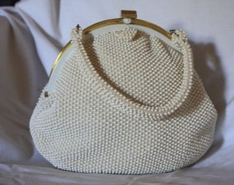 Vintage 1950s All Over White Beaded Single Handle Purse