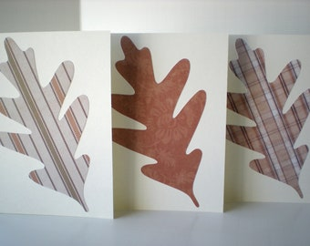 Oak Leaf 3-Card Set Handmade Autumn Fall Woodland Forest Earth Tones Natural Colors