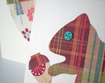 Handmade Notecards Set of 2 Squirrel Acorn Woodland Forest Earth Tone Plaid Cut Paper