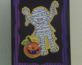 Mummy Halloween Card - Childrens Halloween Card - Kids Halloween Card - Happy Halloween Card - Halloween