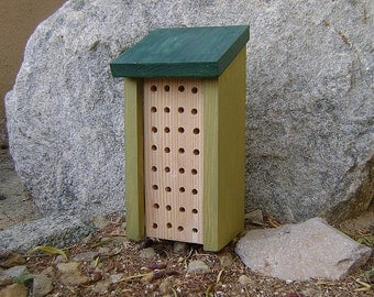 Painted BEE HOUSE, Green Sage and Forest, Insect Hotel, Hand Made, Hand Painted Pine