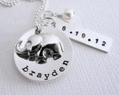 New Baby - New Mom Personalized Necklace - Elephant Charm - Hand Stamped Name Birth Date  - Sterling Silver - Birthstone