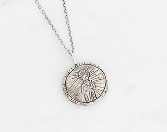 Saint Jude silver unisex medallion necklace