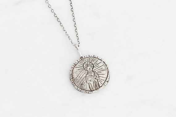 Saint Jude silver unisex medallion necklace