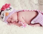 Newborn Baby Girl Crochet Sleepy OWL Purple n Brown Diaper Cover -n- Beanie Hat Set -- Very Cute Photo Prop