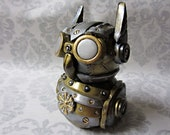 Steampunk'd/Industrial Owl- Black and Gold