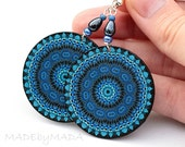Denim color Earrings Round Shades of blue navy blue circles geometric, gift for her under 25 (A9)