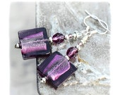 SALE Aubergine Murano tile Earrings Artisan violet silver foil Lampwork bead, Gift Idea for her - MADEbyMADA