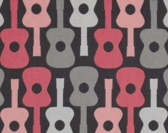 SALE Cotton sewing quilting fabric by the yard - Groovy Guitar bloom Rock n Roll fabric - CX2897 bloom by Michael Miller (not laminated)