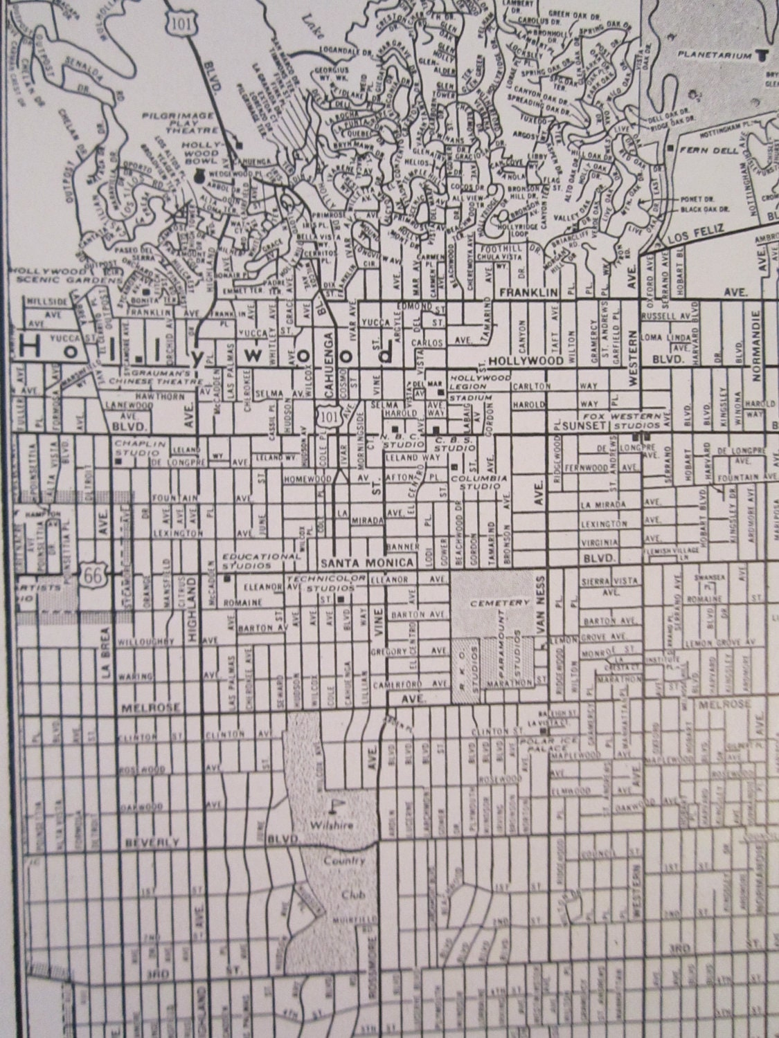 Los Angeles Street Map Hollywood Map Vintage S Los - Los angeles map vintage