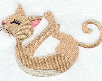 Yoga Cat Kitty Bow Embroidered Flour Sack Hand/Dish Towel