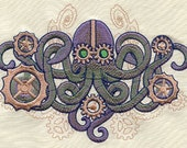 Aquatica Steampunk Octopus Embroidered Flour Sack Hand/Dish Towel - EmbroideryEverywhere